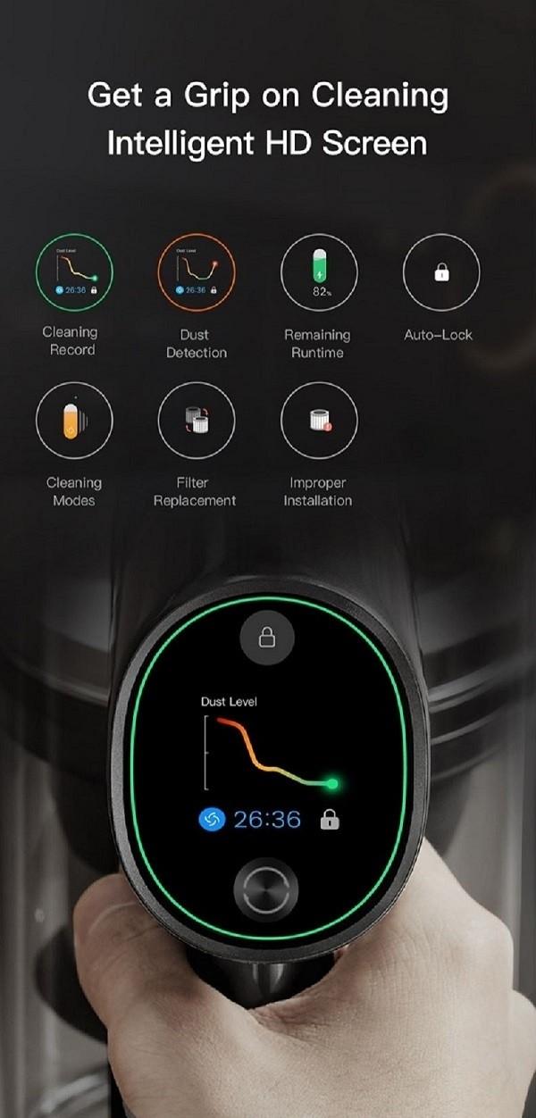 Dreame T30 Cordless Vacuum Cleaner - EU Version 190AW Leistungsstarke Absaugung 90Min. Akkulaufzeit HD-Farb-LCD-Bildschirm Mi Home