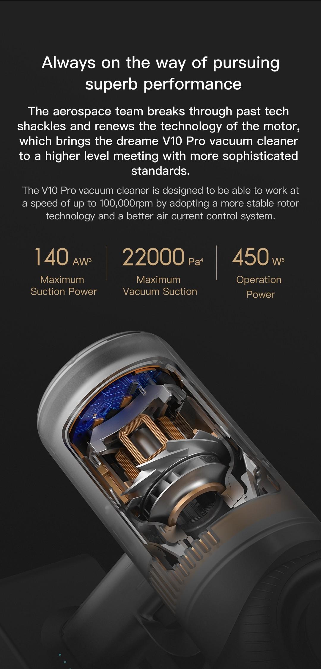 Dreame v10 por aspirador sem fio 450W 22000PA motor da versão da UE da nova geração