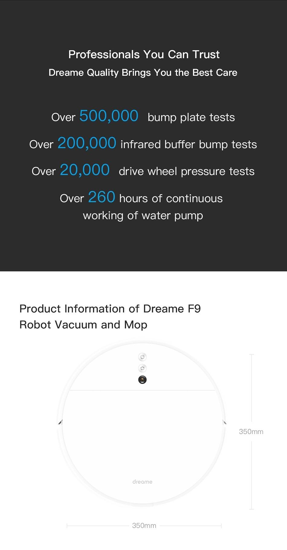 Dreame F9 Roboter-Staubsauger -EU Version 2500Pa starke Absaugung Geplante Reinigung Automatisch aufladen Mop Staubsammler Aspirator für Haus